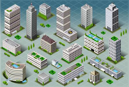 Illustration pour Detailed illustration of a Isometric Buildings - image libre de droit