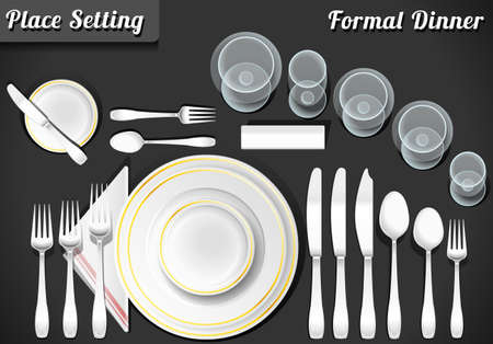 Illustration for Detailed Illustration of a Set of Place Setting Formal Dinner - Royalty Free Image