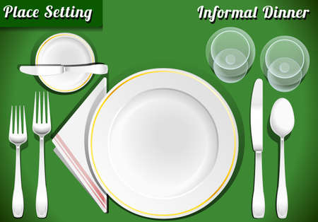 Illustration for Detailed Illustration of a Set of Place Setting Informal Dinner - Royalty Free Image