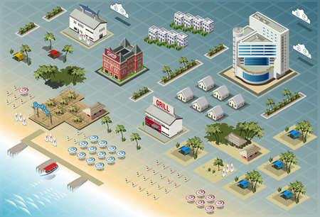 Ilustración de Detailed illustration of Isometric Seaside Buildings - Imagen libre de derechos