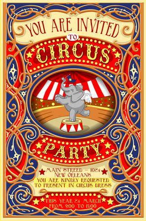 Ilustración de Detailed illustration of a Poster Invite for Circus Party with Elephant - Imagen libre de derechos
