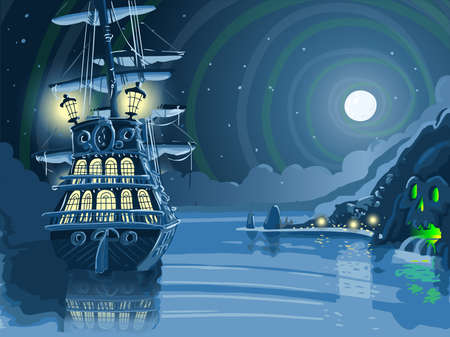 Illustration pour Detailed illustration of a Nocturnal Adventure Island with Pirate Galleon Anchored - image libre de droit