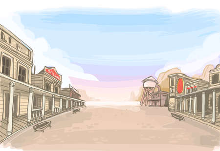 Illustration for Detailed illustration of a Old Wilde West Scenery - Royalty Free Image
