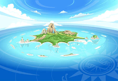 Illustration for Detailed illustration of a Adventure Island - Treasure Island - Royalty Free Image