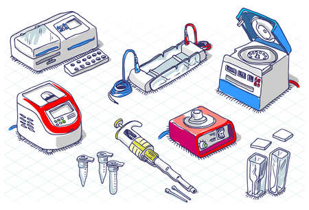 Illustration pour Detailed illustration of a Isometric Sketch - Molecular Biology - Laboratory Set - image libre de droit