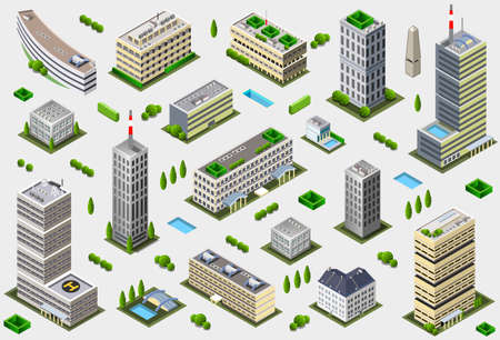 Illustration pour Isometric Megalopolis Building Collection - City Game Tales Set - image libre de droit