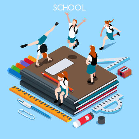 Ilustración de School Chancellery Set 04. Interacting People Unique Isometric Realistic Poses. NEW lively palette 3D Flat Vector Illustration. Happy Back to School - Imagen libre de derechos