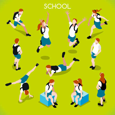 Ilustración de School Students Set 01. Interacting People Unique IsometricRealistic Poses. NEW lively palette 3D Flat Vector Icon Set. Assemble your Own 3D World - Imagen libre de derechos