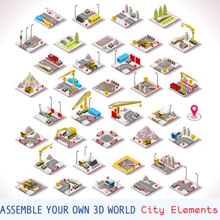 Foto für City Building Construction Site Tiles MEGA Collection Warehouse and Other Isometric 3d Urban Map Elements Set of Game Tiles - Lizenzfreies Bild