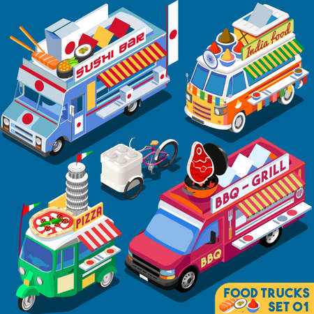 Illustration pour Food Truck Collection. Food Delivery Master. Street Food Chef Web Template. NEW bright palette 3D Flat Vector Icon Set Isometric Food Truck. Full Taste High Quality Dishes Alternative Street Cuisine - image libre de droit