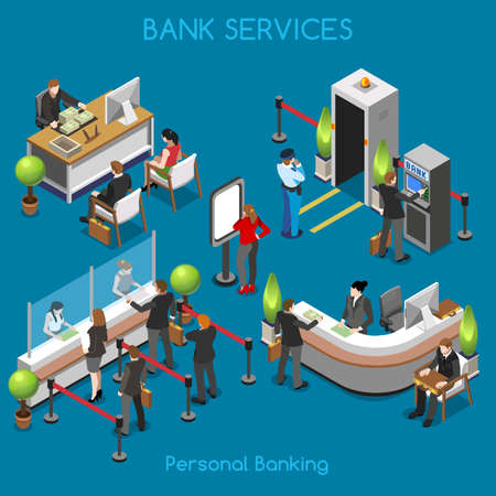 Ilustración de Bank Office Building Floor Interior Detail Elements. Interacting People Unique Isometric Realistic Poses. NEW bright palette 3D Flat Vector Isometric Set. Counter vault cashdesk currency exchange - Imagen libre de derechos