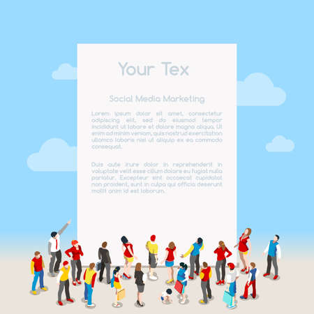 Ilustración de Blank Banner Template with Crowd. Interacting People Unique Isometric Realistic Poses. NEW bright palette 3D Flat Vector Isometric Set - Imagen libre de derechos