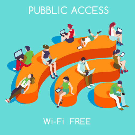 Illustration pour Wi-Fi Free Public Hotspot Zone Wireless Internet. Connection Interacting People Unique Isometric Realistic Poses. NEW bright palette 3D Flat Vector Icon Set. People with Personal Devices and WiFi Icon - image libre de droit