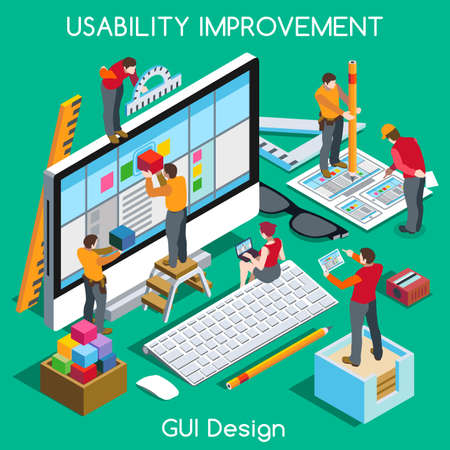 Illustration pour GUI design for Usability and User Experience Improvement. Interacting People Unique Isometric Realistic Poses. NEW bright palette 3D Flat Vector Concept. Team Creating Great Web Graphic User Interfac - image libre de droit