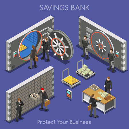 Ilustración de Bank Vault Building Floor Interior Detail Elements. Interacting People Unique Isometric Realistic Poses. NEW bright palette 3D Flat Vector Isometric Set. Counter vault jewellery currency valuables - Imagen libre de derechos