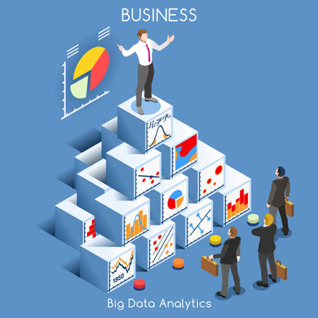 Ilustración de Big Data Analytics Data Mining. Interacting People Unique Isometric Realistic Poses. NEW bright palette 3D Flat Vector Icon Set. Statistics Concept. A Man Speaking on Top of a Graph Pile of Cubes - Imagen libre de derechos