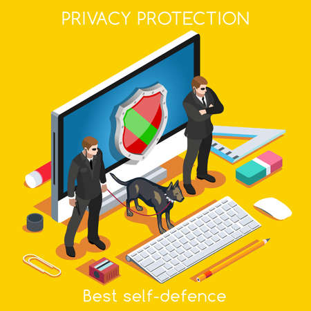 Illustration pour Device Protection. NEW bright palette 3D Flat Vector Set. Privacy Protection Antivirus Data Security Cryptography Firewall Smartphone Encrypted Interface Cloud Safety Internet Security Infographic - image libre de droit