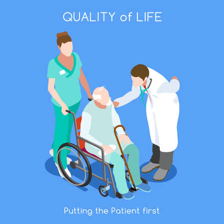 Illustration pour Healthcare Quality of Life as First Aim. QoL as First Care. Patient Disease Hospitalization Medical Insurance Hospital. Old Patient with Doctor Staff. NEW bright palette 3D Flat Vector People - image libre de droit