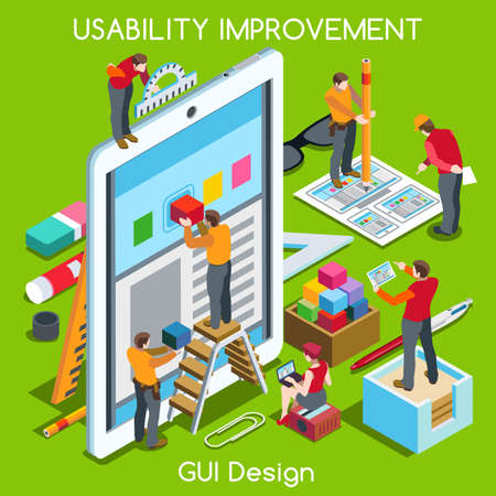 Illustration for GUI design Tablet App UI UX Improvement. Interacting People Unique Isometric Realistic Poses. NEW bright palette 3D Flat Vector Concept. Team Creating Great Web Graphic User Interface - Royalty Free Image