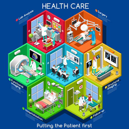 Illustration pour Clinical Trials and Healthcare. Hospital Departments with People NEW bright palette 3D Flat Vector Icon Set. Rooms with Patients Doctors Nurses Scrubs Staff Support Workers. Putting the Patient 1ST - image libre de droit