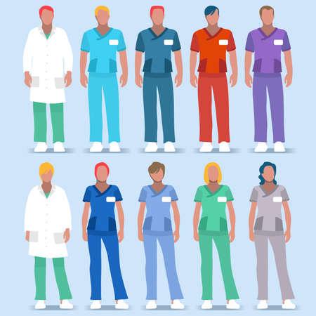 Illustration pour Scrubs Nursing and Physician Uniforms - image libre de droit