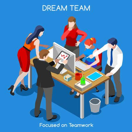 Ilustración de Startup Teamwork Brainstorming Office Meeting Room - Imagen libre de derechos