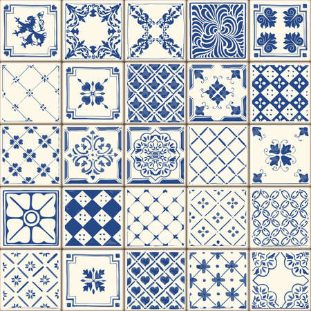 Illustration pour Indigo Blue Tiles Floor Ornament Collection - image libre de droit