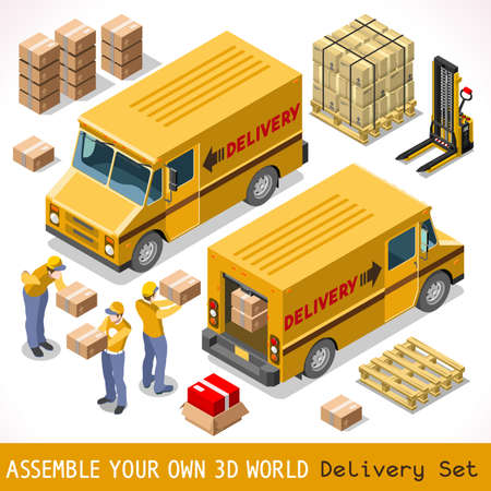Illustration pour Delivery Service Chain Elements Collection. NEW bright palette 3D Flat Vector Icon Set. Yellow box pakage worldwide shipping  carried by Courier man of Postal Service Yellow Van. Express home delivery - image libre de droit