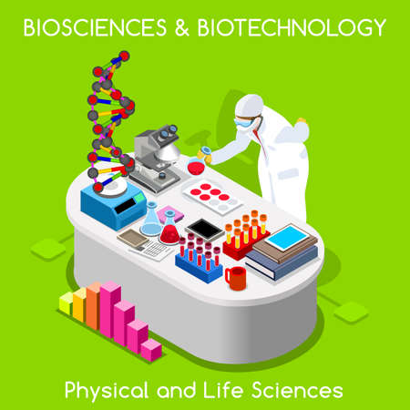 Ilustración de Healthcare Laboratory Biosciences and Biotechnology. Hospital Lab Departments DNA Bank Nanotechnology Microbiology Staff. NEW bright palette 3D Flat Vector People. Physical and Life Sciences - Imagen libre de derechos