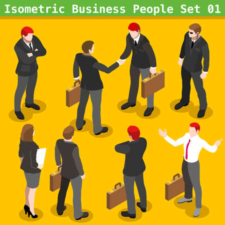 Illustration pour Modern Business Gestures. Corporate Agreement. 3D Flat People Big Icon Set. Businessman and Secretary Realistic Poses. Insights for Presentations or Report Last Slide - image libre de droit
