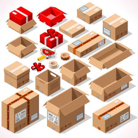 Illustration pour Cardboard Boxes Set opened closed sealed with tape dispenser big or small format. Flat style vector illustration isolated on white background. Delivery Infographic for holiday gift - image libre de droit
