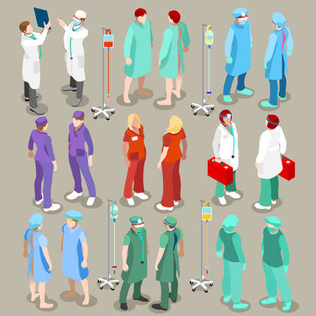 Illustrazione per Flat 3d isometry isometric doctor patient nurse surgeon hospital icon set concept web infographics vector illustration. Healthcare medicine professionals. Creative people collection - Immagini Royalty Free