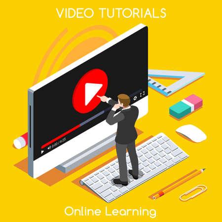 Ilustración de Video tutorials isometric concept. Study and learning banner remote education and knowledge growth. - Imagen libre de derechos