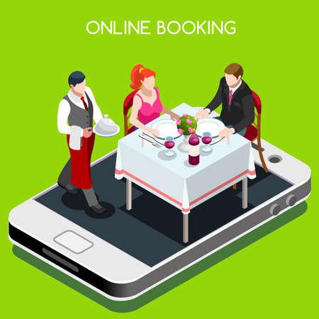 Ilustración de Online booking reservation concept. 3D flat isometric people elements online reserved table in restaurant. - Imagen libre de derechos