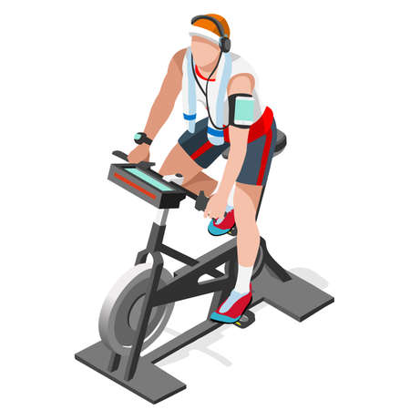 Illustration pour Exercise Bike Spinning Fitness Class.3D Flat Isometric Spinning Fitness Bike. Gym Class Working Out Cycling Indoor Exercise Bike Gym Cycling Fitness Equipment. Gym Bike for Cycling Vector Image. - image libre de droit