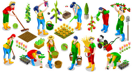 Illustration for Isometric farmer people 3D icon set collection vector illustration. Farm field scene seed plant gardening tool - Royalty Free Image