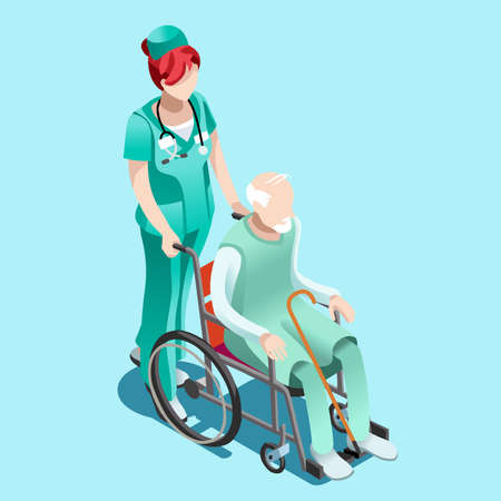 Illustration pour Senior female nurse pushing elderly person patient in wheelchair. Clinical hospital interior room infographic isolated flat 3d isometric vector illustration. - image libre de droit