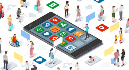 Illustration pour Connecting people and social media graphic vector template with flat isometric elements people and smartphone devices illustration - image libre de droit
