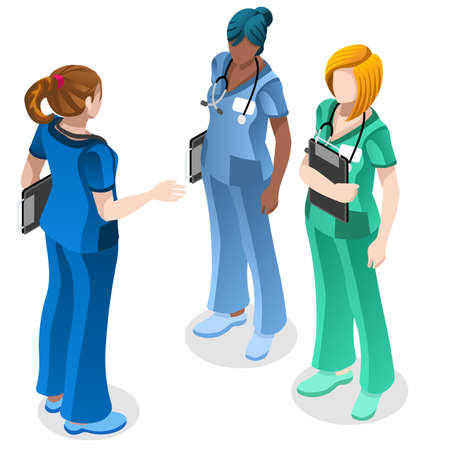 Ilustración de Clinic nurse education training meeting situation with group of doctor and nurses talking together. Healthcare hospital medical team flat vector isometric people illustration - Imagen libre de derechos