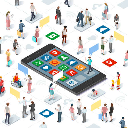 Ilustración de Connecting people and social media graphic vector template with flat isometric elements people and smartphone devices illustration - Imagen libre de derechos
