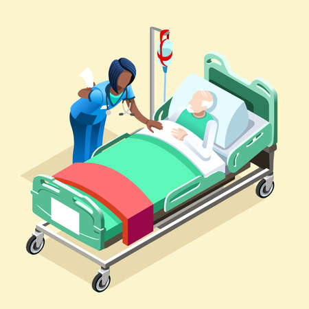 Illustration pour Medical team group of black female nurse or doctor talking to elderly patient in bed, Hospitalization concept with isometric people vector hospital team illustration in flat design - image libre de droit
