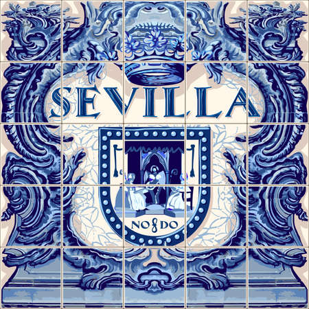 Illustration pour Seville Spanish ceramic tiles Spain symbol vector lapis blue illustration - image libre de droit