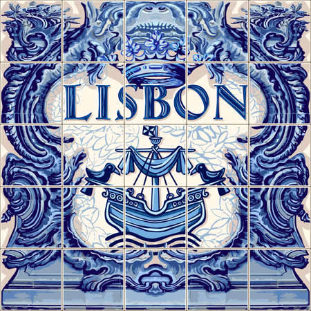 Illustration pour Lisbon Portugal ceramic tiles Portuguese symbol vector lapis blue illustration - image libre de droit