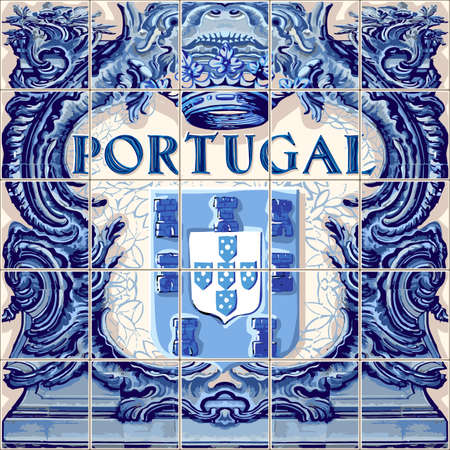 Illustration pour Portugal symbol Portuguese ceramic tiles vector lapis blue illustration - image libre de droit