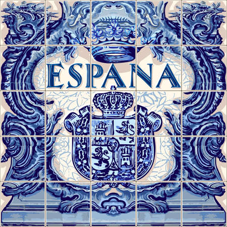 Illustration pour Spain symbol Spanish ceramic tiles vector lapis blue illustration - image libre de droit