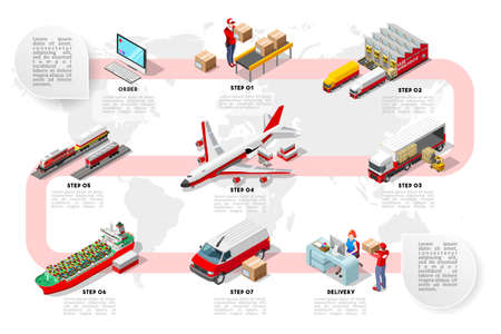 Illustration for International trade logistics network infographic vector illustration with isometric vehicles for cargo transport. Flat 3D Sea freight, road freight and air freight shipping on-time delivery - Royalty Free Image