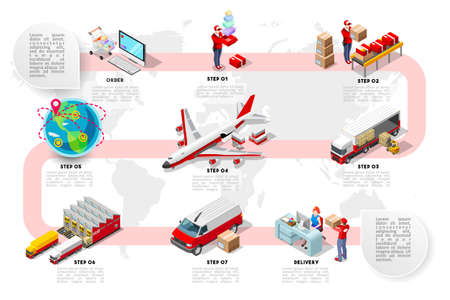 Illustration pour International trade logistics network infographic vector illustration with isometric vehicles for cargo transport. Flat 3D Sea freight, road freight and air freight shipping on-time delivery - image libre de droit