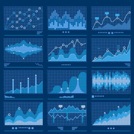 Illustration pour Big data blueprint data analytics blue background vector illustration - image libre de droit