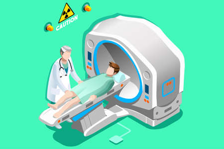Illustration for Mri scan. Doctor and patient lying down in mri machine for ct brain scan. Hospital technology concept. 3D Flat isometric people vector illustration. - Royalty Free Image