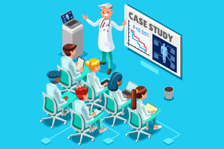 Ilustración de Clinic medical research trial isometric people meeting or doctor training health infograph 3D flat cartoon character vector illustration. - Imagen libre de derechos